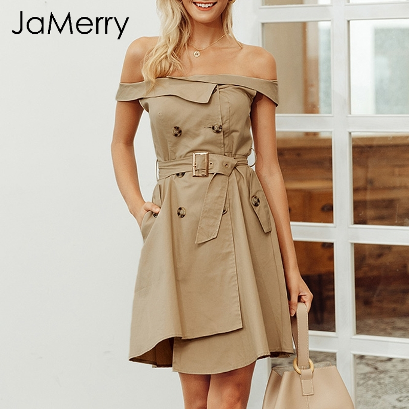 JaMerry Sexy off shoulder double breasted trench women dress Irregular hem sashes button dresses Office winter autumn vestidos