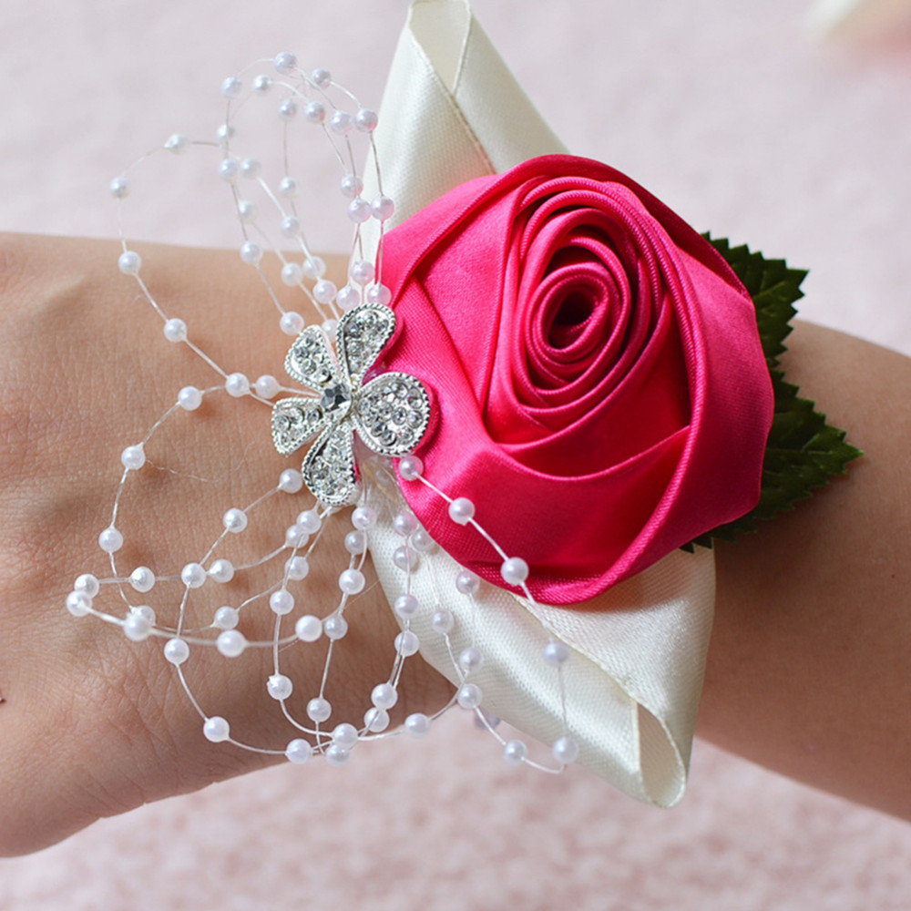 Medical & Mobility 2019 Latest Design 1pc Handcrafted Wrist Corsage Bracelet Artificial Silk Rose Flowers For Wedding Hand Flower Bouquet For Bride Event Supplies