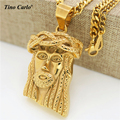 Tino Carlo Hot Sell Men's 3D Jesus Head HipHop Necklace Stainless Steel Gold Plated Thick Jesus Statement Necklace