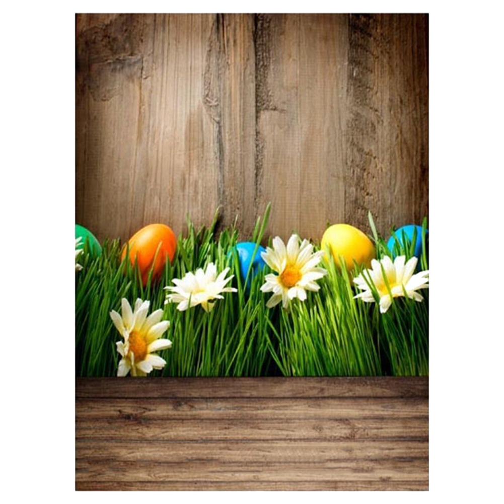5x7ft Vinyl Photography Backdrop Easter Eggs Mum Flowers Green Grass Ancient Wood Floor Background Baby Girls Adults Happy Hol