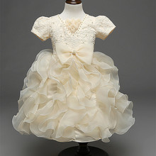 3-7Y Flower Lace Jacquard Girl Princess Dress Kids Party Bridesmaid Wedding Pageant Dress Baby Girl Costume Flower Girl Dresses