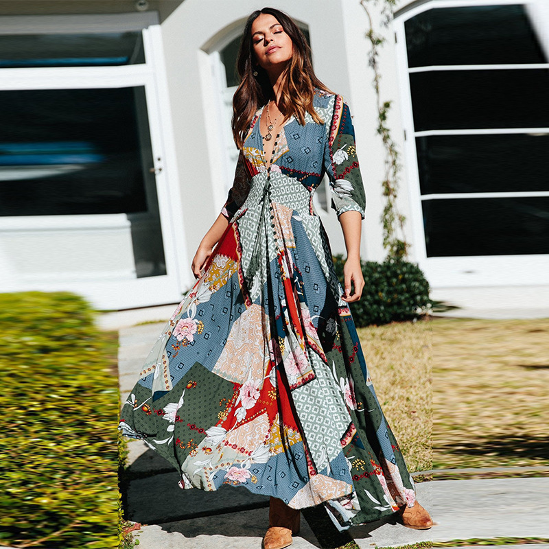 Women's Beach Outings 2019 Women Dress Bath Dresses For The Clothes Cover-Ups Bohemia Print Neck Button Long Sleeve Skirt