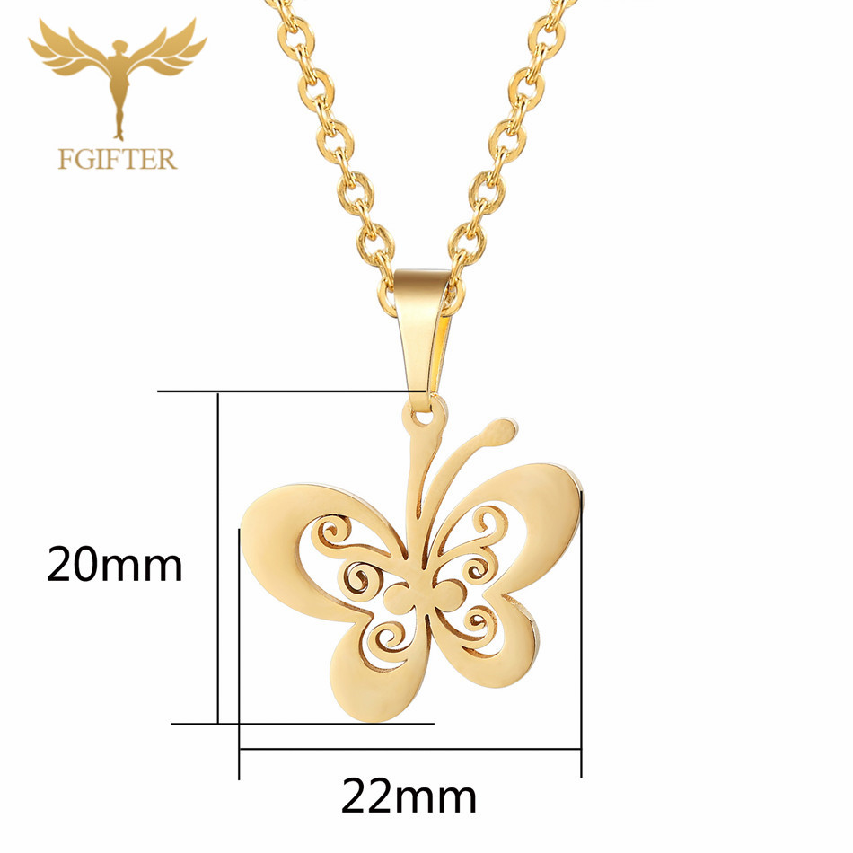 Fgifter Gold Butterfly Stud Earrings Necklace Jewelry Sets For Girls Children Stainless Steel Jewelry Kids Gifts Wholesale #5