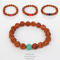 2016 New Arrival Multi Color Glass Beads Natural Rudraksha Bracelets Unisex Tibetan Buddha Prayer Jewelry Handmade Yoga Bracelet