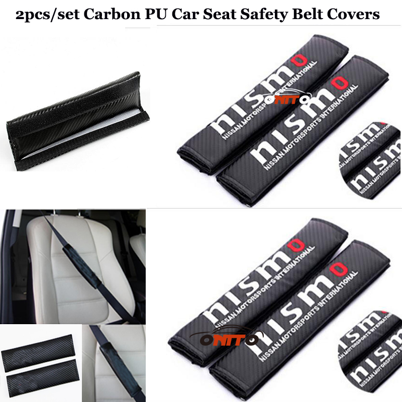 For Nismo Logo accessories 2pcs/set car seat belts padding covers Carbon PU High Practicality