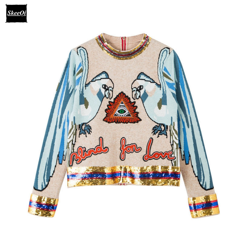 2018 Autumn New Fashion Sweater Female Pullovers Sequins Parrot Letter Knitted Sweaters Pullover Runway Designer Tops Jumper