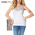 KaigeNina New Fashion Hot Sale Women Solid Natural Color Casual Loose Appliques Shirt Tank Tops Vest 1091