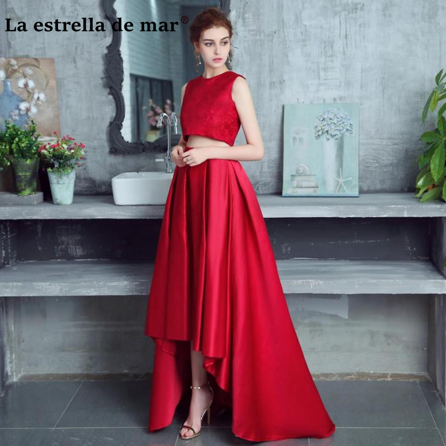 vestido de madrinha de casamento longo 2019 Lace and satin high low 2 piece Burgundy dark green ivory silver   bridesmaid     dresses