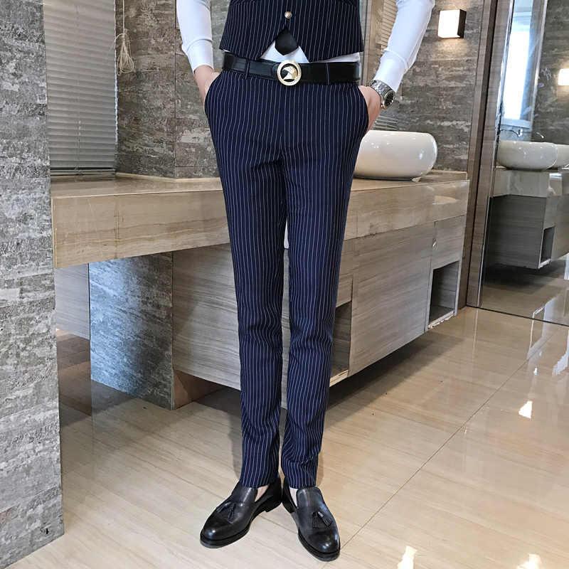 2019 古典的な黒のズボンの男性のビジネス結婚式の宴会のドレスメンズ S S-4XL スリムフィット男性レジャーパンツ
