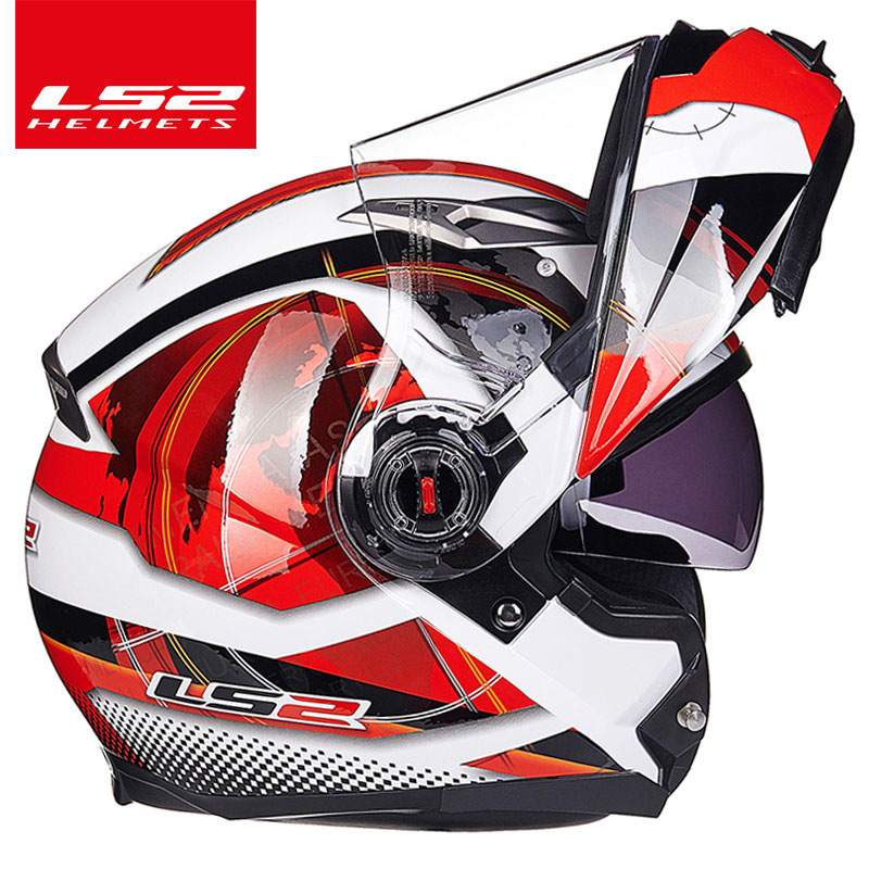 Image 2 - LS2 FF370 flip up motorcycle helmet dual shield with inner sunny lens modular moto racing helmets ECE certification casque moto-in Helmets from Automobiles & Motorcycles