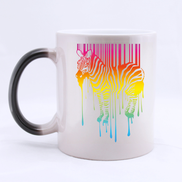 colorful melting zebra customized coffee mug mugs color change ceramic cup water office beer cups 11