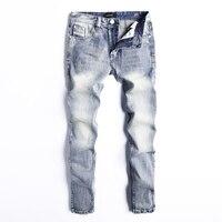 Fashion Men Jeans Light Blue Color Slim Fit 100% Cotton Ripped Jeans For Men Denim Pants Brand Classical Jeans Homme Size 29 40