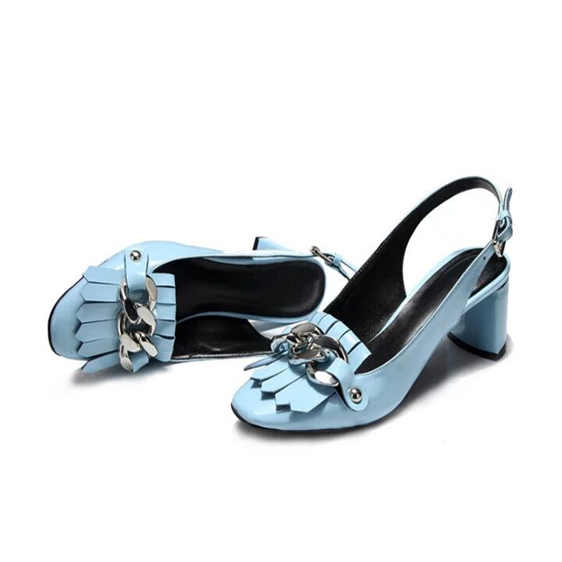 Knsvvliตารางนิ้วเท้าพู่โซ่เงิน6เซนติเมตรรองเท้าส้นสูงรองเท้าหนังรองเท้าผู้หญิงสีฟ้าสีดำสิทธิบัตรหนังก้อนส้นสูงรองเท้า-ใน รองเท้าส้นสูงสตรี จาก รองเท้า บน   2