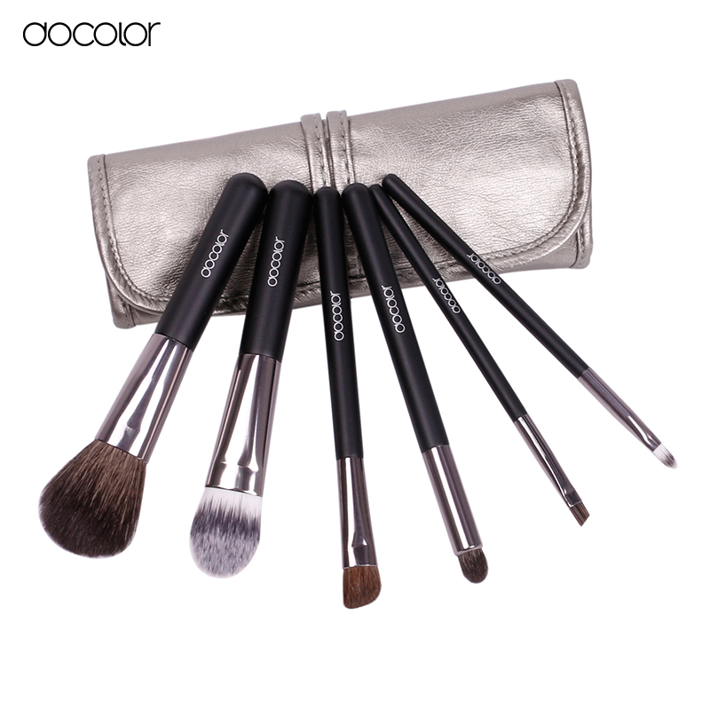 Docolor make-up pinsel 6 stücke Ziegenhaar Professionellen make-up pinsel set Lidschatten Eyeliner Nose Smudge make-up pinsel kostenlose schiff