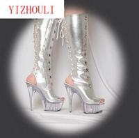 Hot Fashion Knight Female Platform Ladies High Heel Knee High Boots Woman Open Toe Shoes Pu