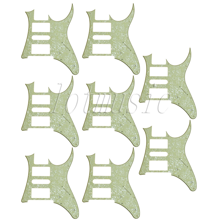 8pcs light green pearl HSH Eletric Guitar Pickguard For Ibanez RG250 Style replacement musiclily 3ply pvc outline pickguard for fenderstrat st guitar custom