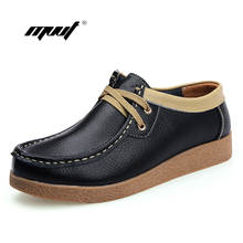 Lace-up Women's Flats Zapatos Mujer Genuine Leather shoes Women Full Grain women Shoes Sapatos Femininos moccasin woman loafers