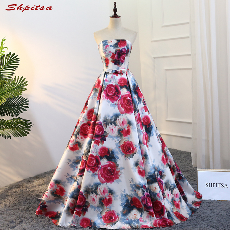 Floral Elegant Long Evening Dresses Party 2018 Plus Size Beautiful Women Ball Gown Prom Formal Evening Gowns Dresses
