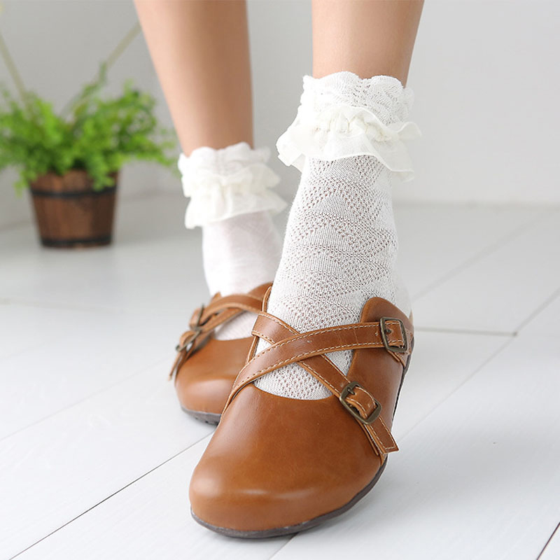 Japanese Autumn Women Kawaii Princess White Black Lace lolita   socks   Retro Ruffle Cute Ladies Frilly Flower pilates   socks