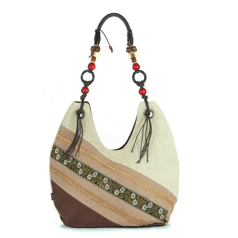 Vintage Style Embroidered Canvas Hobos Handbag Retro Ladies Top-Handle Big Soft Shoulder Bag Bolsas Femininas Beige