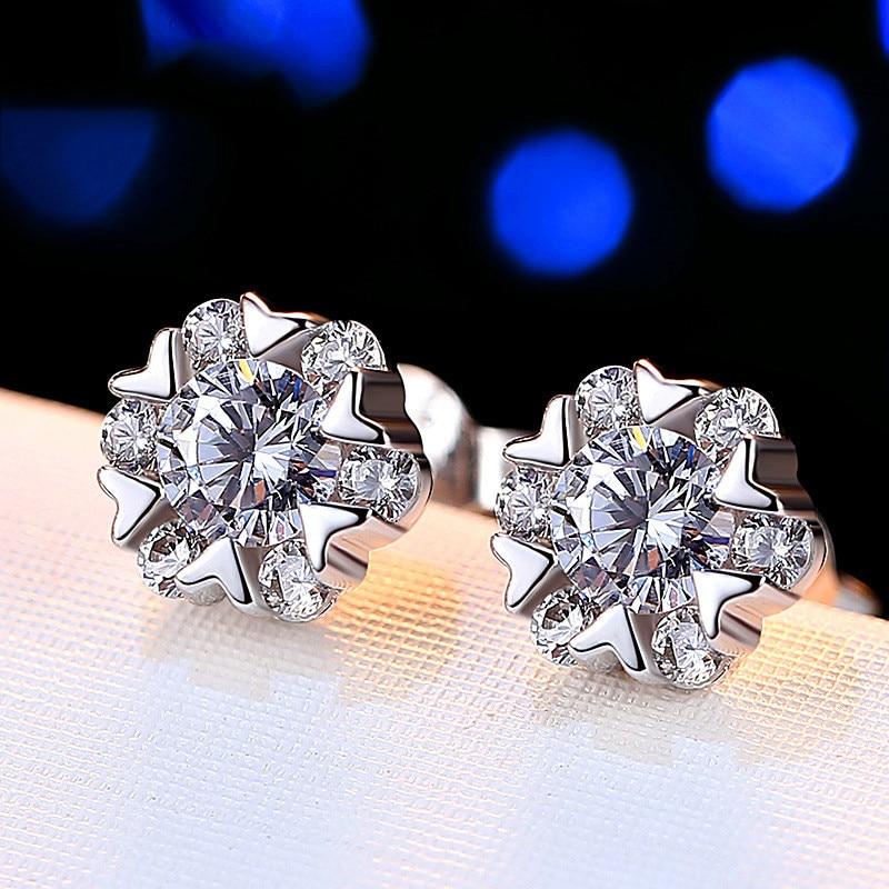 Cute Female Snowflake Stud Earrings Real Silver Color Wedding Jewelry Double Crystal Zircon Earrings For Women
