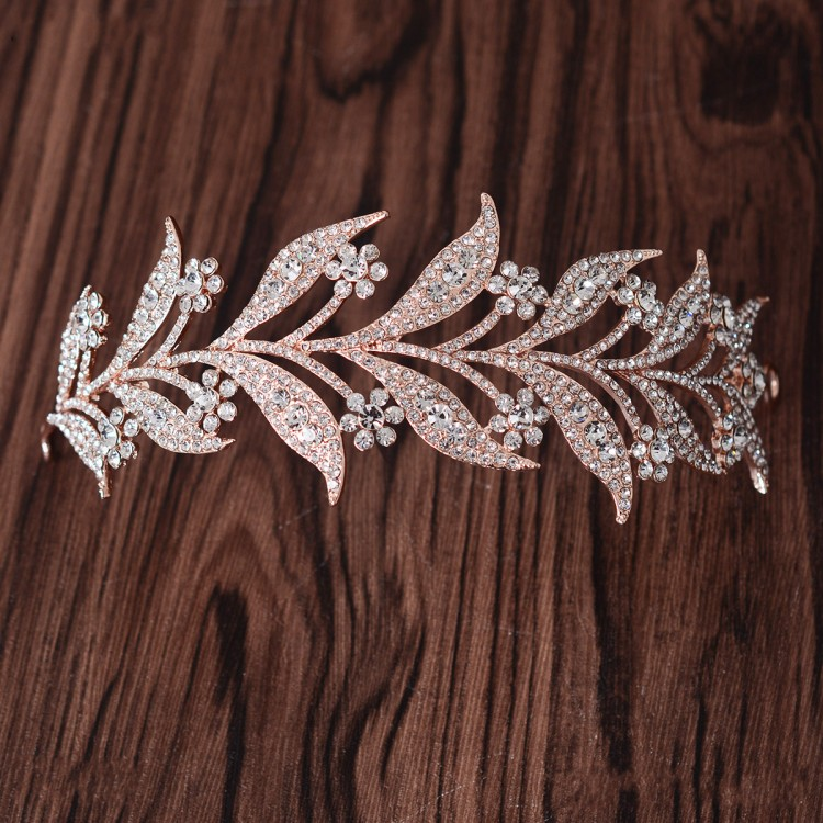 Rose Gold Crystal Leaves Vine Tiara Wedding Headband Hair