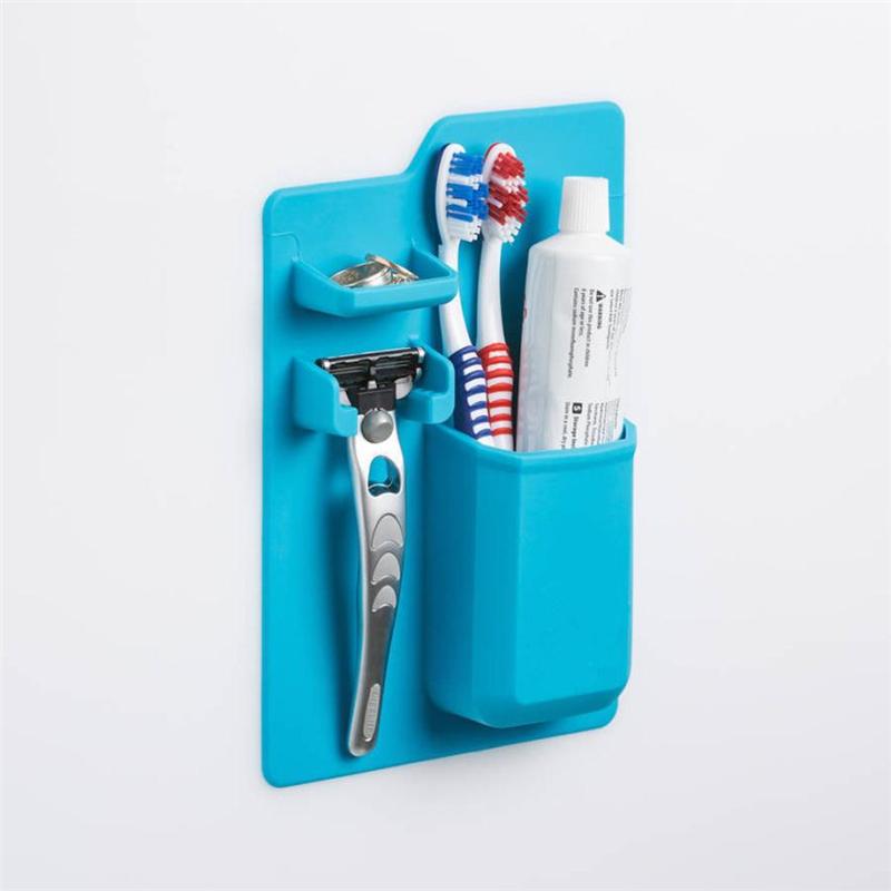 New Creative  Silicone Mighty Toothbrush Holder Baskets Bathroom Organizer Storage Space Rack Wear-resistant Holder C0321#30    02 -