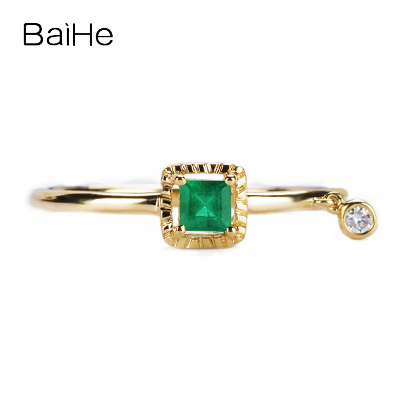 BAIHE Solid 14K Yellow Gold Certified 3mm*3mm Round cut 100% Genuine Natural Emerald Wedding Women Trendy Fine Jewelry Gift Ring подкладное кольцо zfe 3 100 snap ring 3mm