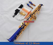 New Blue Gold Straight Bb Soprano Saxophone Sax High F# G With Case-2 Neckes