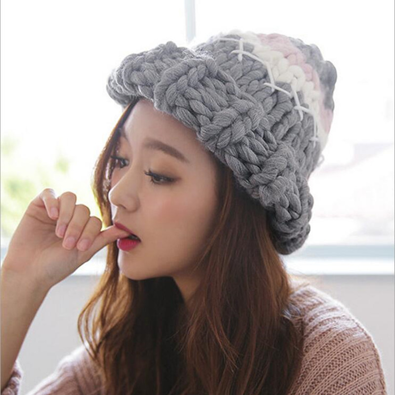 d7e006bd8cd15 2017Women s Knitted Cap Winter Hats Handmade Twist Thick Warm Coarse Lines Hat  Gift Fast delivery