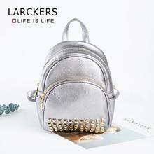 Larckers брендовая сумка shin серебристый женский рюкзак из полиуретана маленькая сумка в форме раковины Модный заклепки Прикрепленный двухслойный молнии рюкзак для девочек