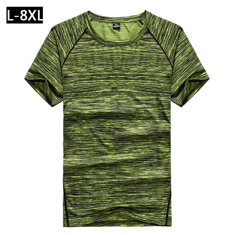Latihan Tshirt Pria Gym Cepat Kering Olahraga T Kemeja Pria 2019 Baru Lengan Pendek Pelatihan Tees Kebugaran Top Olahraga T-shirt ukuran M-8XL