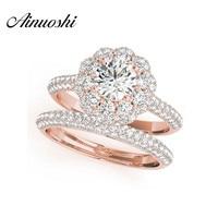 AINUOSHI/Модные женские свадебные кольца из стерлингового серебра 925 пробы розового золота 0,5 карат SONA с круглой огранкой, набор обручальных кол