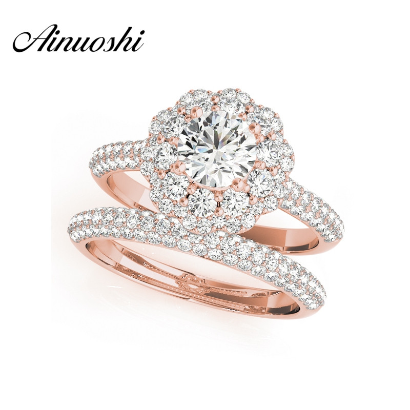 AINUOSHI Trendy 925 Sterling Silver Rose Gold Color Women Wedding Ring Sets 0.5 Carat Sona Round Cut Engagement Halo Ring Sets цена 2017
