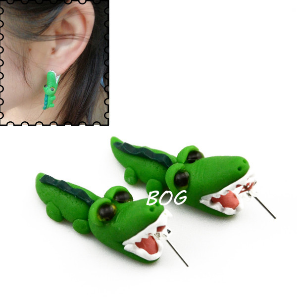 Fashion Animal brincos Handmade Polymer Clay Shark Crocodile Cat Piranha Ear Stud Earrings For Women Piercing Earrings Jewelry