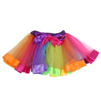 Childrens Rainbow Skirt Chiffon Fluffy Pettiskirts Girls Tutu Skirts Baby Ballerina Kids Casual Candy Color Skirts conjuntos casuales para niñas