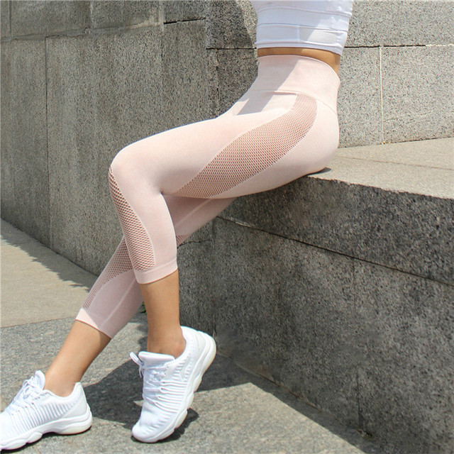 Colorvalue Seamless Mesh Running Sport Tights Women Mention Hip Gym Yoga Capri Pants Tummy Control Fitness Athletic Leggings 1
