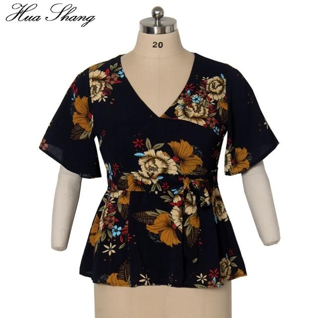 Womens Plus Size Tops And Blouses Summer V Neck Flare Short Sleeve Floral Print Boho Tunic Chiffon Blouse 4XL 5XL Women Shirts 3