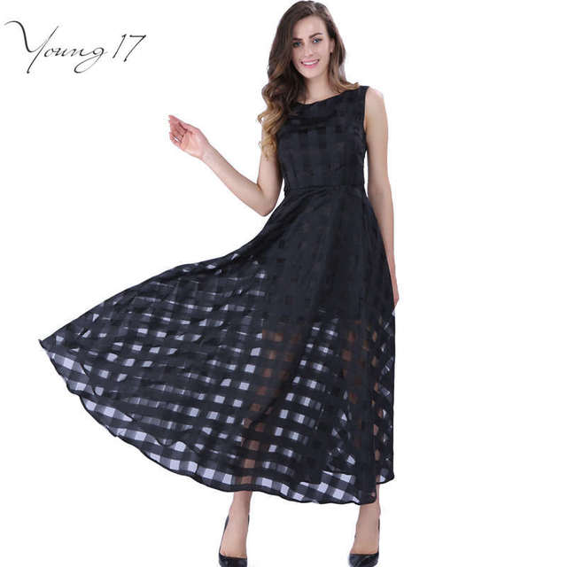 Young17 16 Макси Лето Плед Женщины Dress Нью-Лонг Органзы день Dress Vestidos De Festa Атласная Мода стиль черные женщины платья