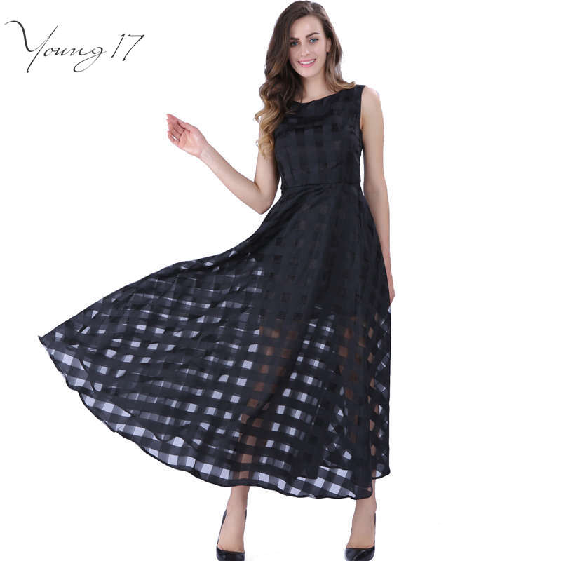 Buy Cheap Young17 16 Maxi Summer Plaid Women Dress New Long Organza day Dress Vestidos De Festa Satin Fashion style black women dresses