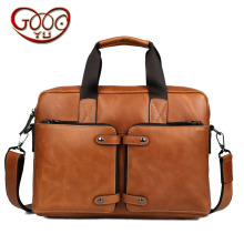 High-grade wax leather briefcase leather handbag business men's leather computer bag cross section square messenger bag
