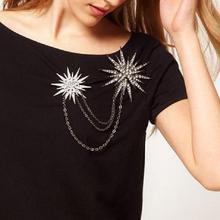 Fashion Women's Snowflake Star Chain Alloy Rhinestones Large Brooch Jewelry Scarf Buckle Women's Tassel Chain Brooch Medal