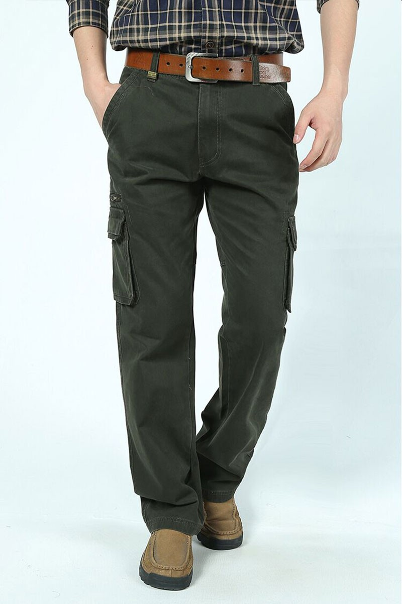 2015 New Autumn Winter Men\'s Cotton Cargo Long Pants High Quality Casual Straight Thick Pants Plus Size Trousers AFS JEEP 30~44 (6)