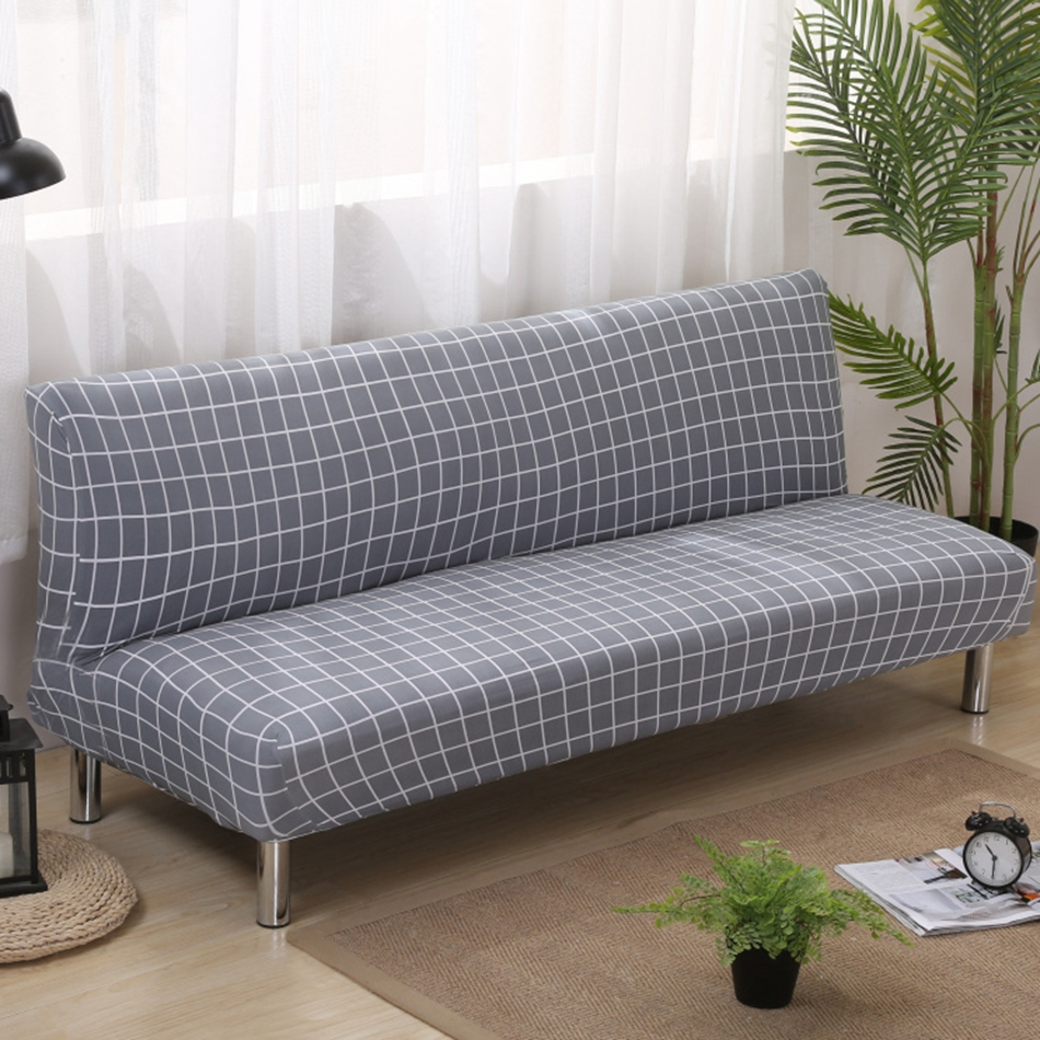Grey Plaid Armless Couch Sofa Covers For Living Room Universal Elastic  Covering For Sofa Bed Stretch