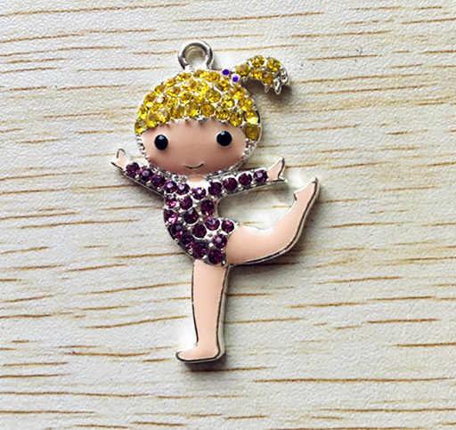 48x31mm10 шт/партия фиолетовый с желтыми волосами серебро Цинк сплав Стразы балетные кулоны для девочек для изготовления ювелирных изделий ожерелье