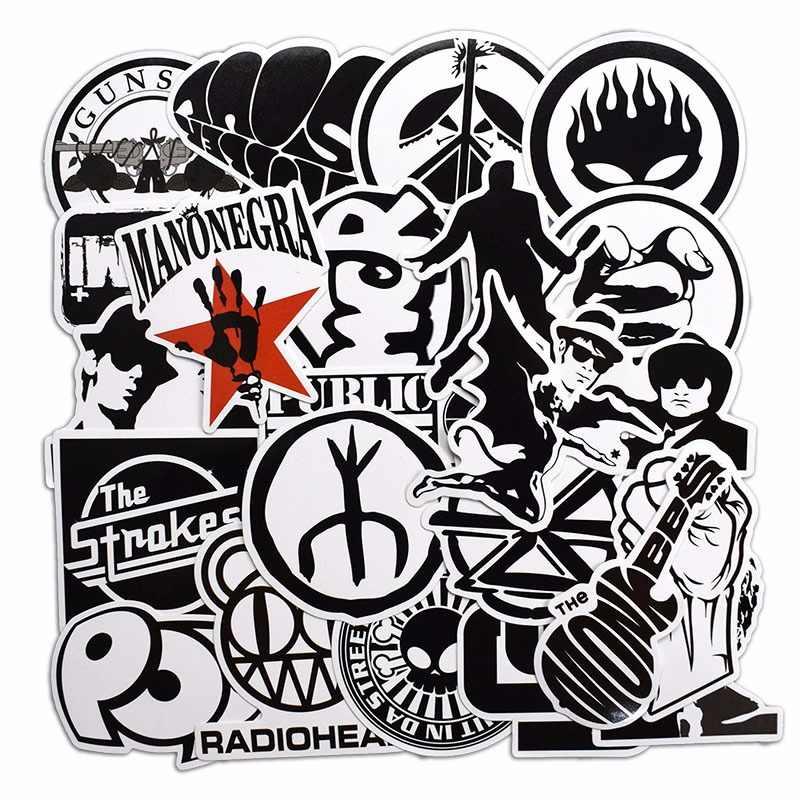 50 piezas Rock   Roll blanco y negro pegatinas para portátil monopatín  equipaje guitarra maleta música 2c6117b0332