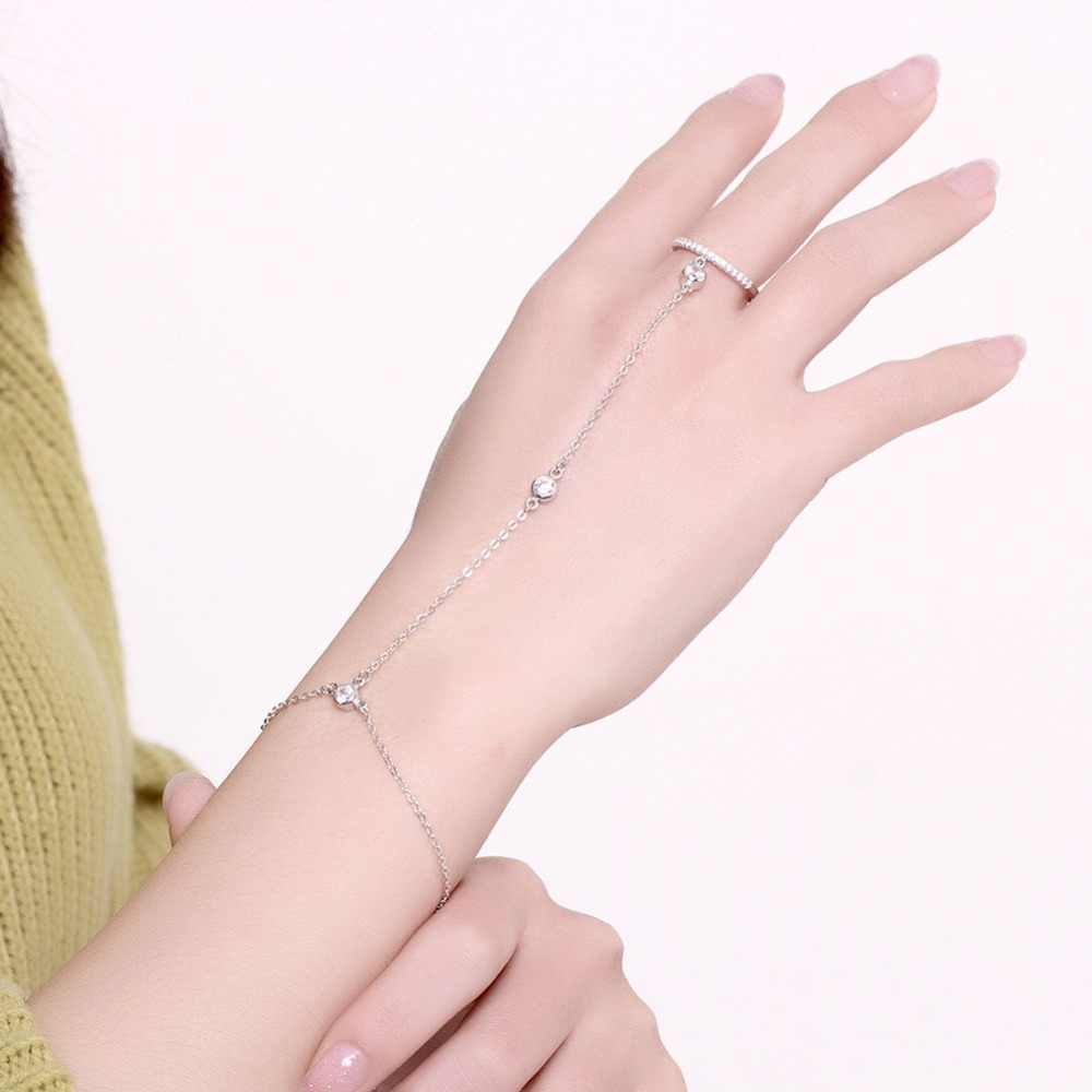 Fashion Shinning Chain Ring Bracelet Girls Jewelry Finger Ring Bracelets  For Women Silver Plated Round Classical
