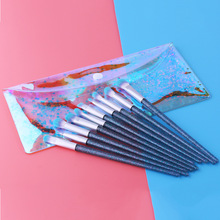 New 10pcs Blue Glitter Unicorn Makeup Brushes Set High Quality Foundation Blending Cosmetic Make Up Tool Set With PVC Shinny Bag