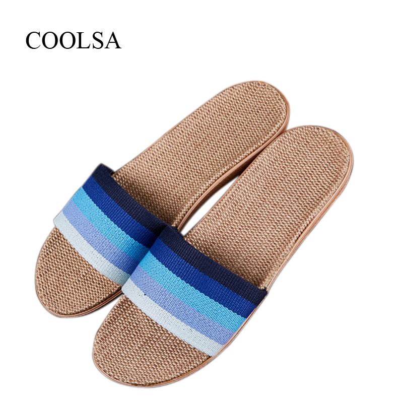 COOLSA Men's Indoor Flax Slippers Men's Summer Linen Slippers Breathable Non-slip Fashion Home Slippers Men's Hemp Basic Slides coolsa women s summer flat non slip linen slippers indoor breathable flip flops women s brand stripe flax slippers women slides
