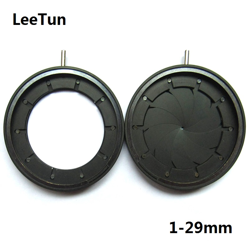 Adjustable 1-29mm Aperture Diameter Zoom Iris Diaphragm Aperture Condenser f Microscope Camera Lens Optical Instrument 10 Blades цены